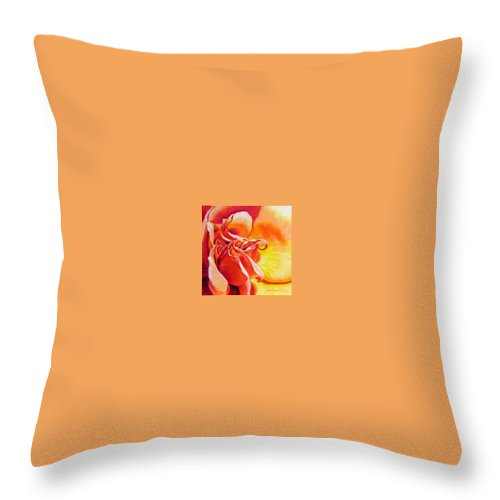 Close Up Of A Reddish Throw Pillow featuring the painting Patterns Of A Rose by John Lautermilch