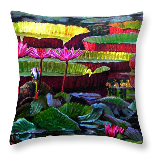 Water Lilies Throw Pillow featuring the painting Patterns Of Color And Light by John Lautermilch