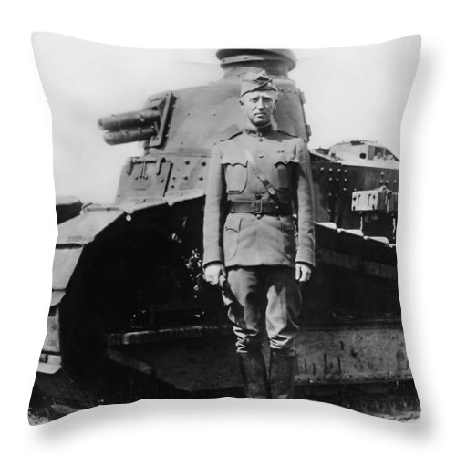 George Patton Throw Pillow featuring the photograph Patton Beside A Renault Tank - Wwi by War Is Hell Store