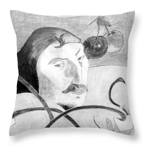 Pencil Throw Pillow featuring the drawing Paul Gauguin by Jamie Frier