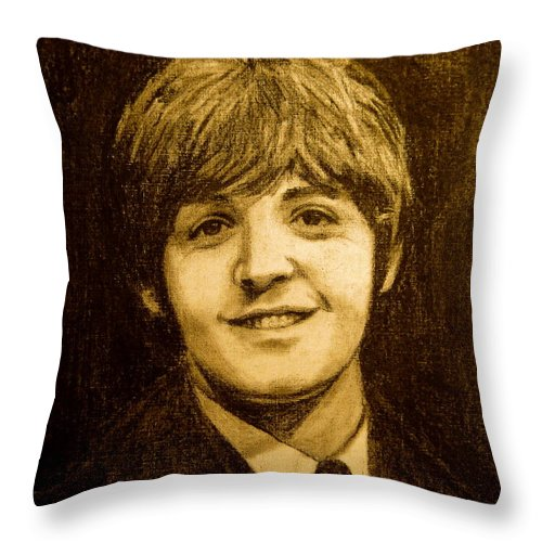 Musicians Throw Pillow featuring the drawing Paul by Jorge Rodriguez