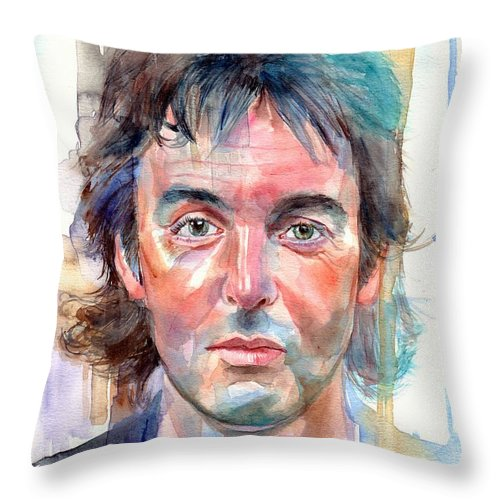 Paul Throw Pillow featuring the painting Paul McCartney young portrait by Suzann Sines