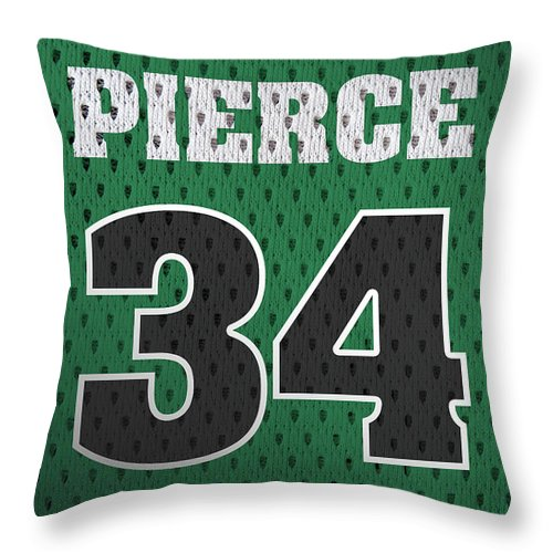 Paul Pierce Throw Pillow featuring the mixed media Paul Pierce Boston Celtics Number 34 Retro Vintage Jersey Closeup Graphic Design by Design Turnpike