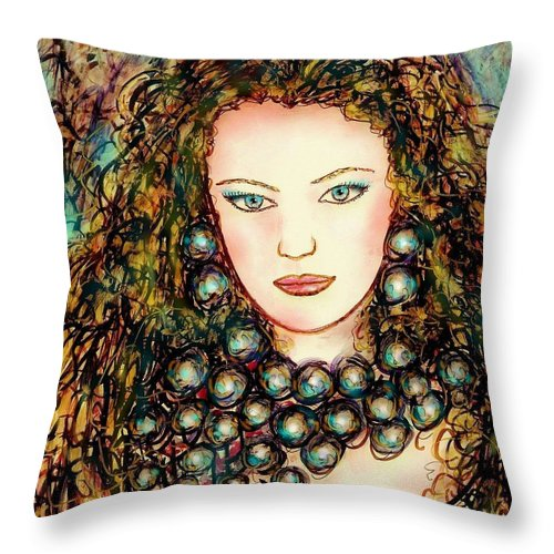 Woman Throw Pillow featuring the painting Paula by Natalie Holland