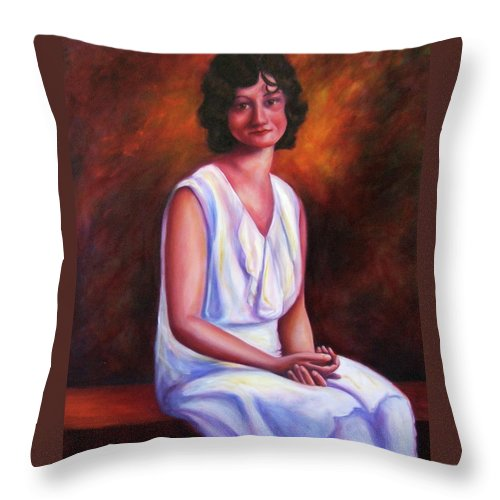 Woman Throw Pillow featuring the painting Pauline by Shannon Grissom