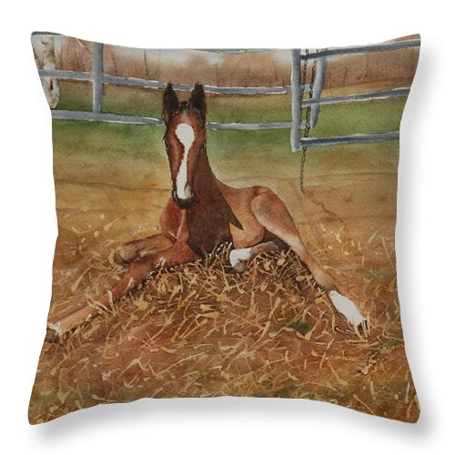 Colt Throw Pillow featuring the painting Pavlo's First Day by Ruth Kamenev