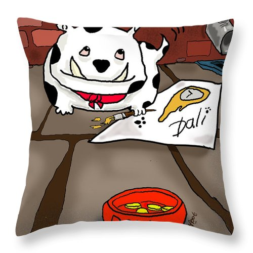Art Aev Moore Throw Pillow featuring the digital art Paw Artist Give Generously by Kev Moore