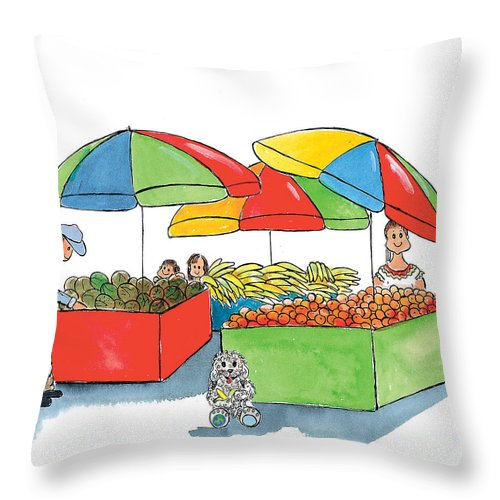 Watercolor Throw Pillow featuring the mixed media Paw Paw At The Market by Leah Wiedemer