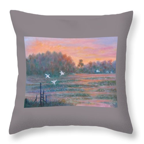 Low Country; Egrets; Sunset Throw Pillow featuring the painting Pawleys Island by Ben Kiger