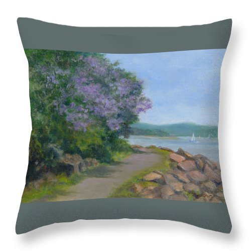 Oil Landscape Throw Pillow featuring the painting Paulownia Along The Nyack Trail by Phyllis Tarlow