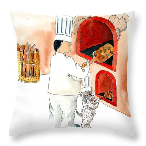 Watercolor Throw Pillow featuring the mixed media Pawpaw Bakes Bread by Leah Wiedemer