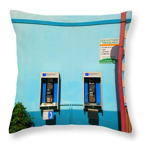 Pay Throw Pillow featuring the photograph Pay Phones by Perry Webster