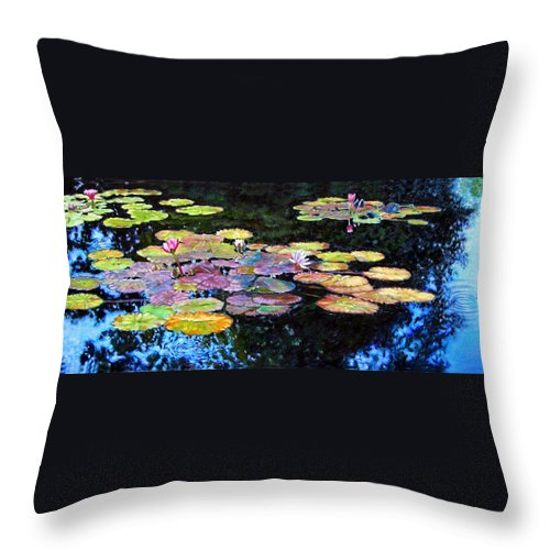 Water Lilies Throw Pillow featuring the painting Peace Among the Lilies by John Lautermilch