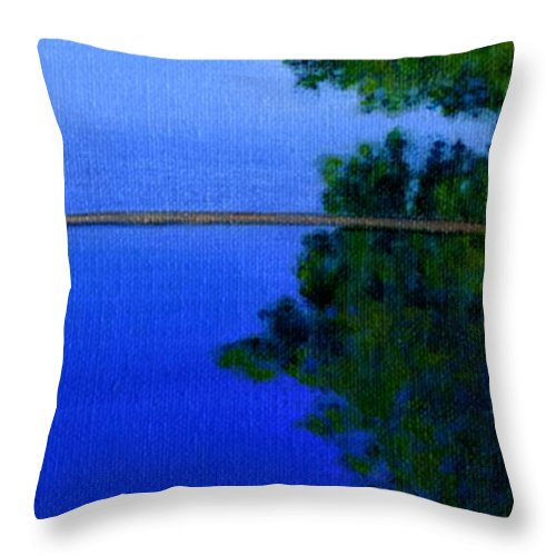 Water Liliy Throw Pillow featuring the painting Peace And Beauty by John Lautermilch