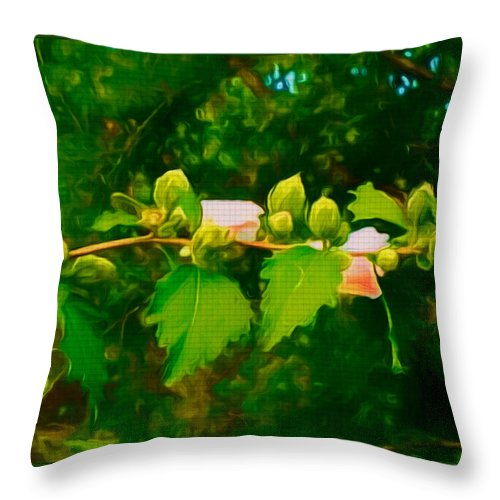 Branch Throw Pillow featuring the mixed media Peace And Serenity by Debra Lynch