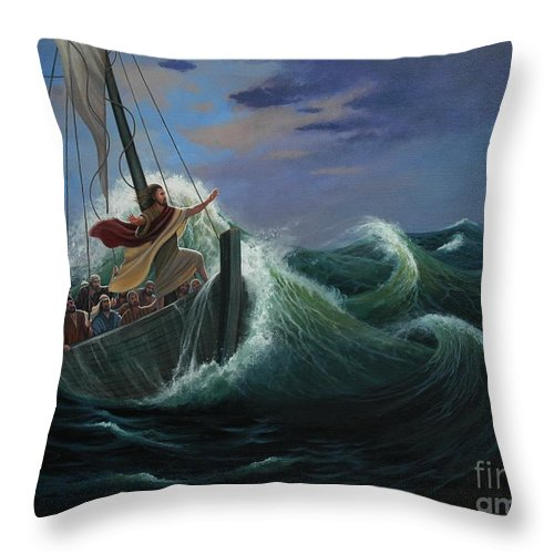 Bible Throw Pillow featuring the painting Peace Be Still by Michael Nowak