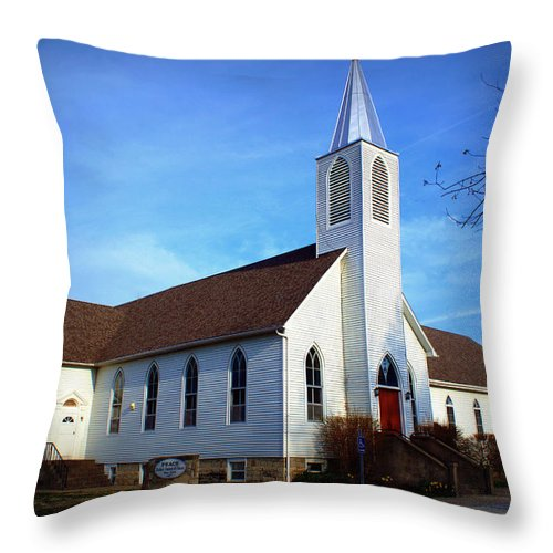 Church Throw Pillow featuring the photograph Peace Church by Cricket Hackmann