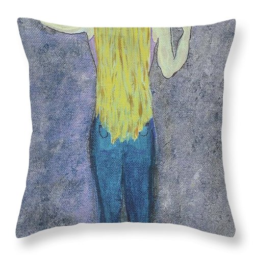 Hippie Throw Pillow featuring the mixed media Peace by Desiree Paquette