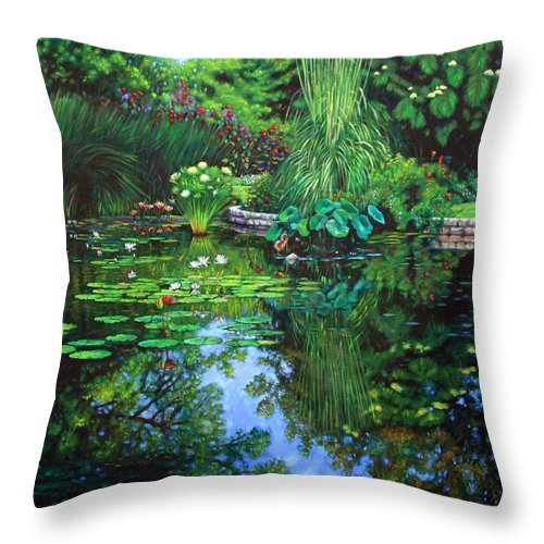 Landscape Throw Pillow featuring the painting Peace Floods My Soul by John Lautermilch