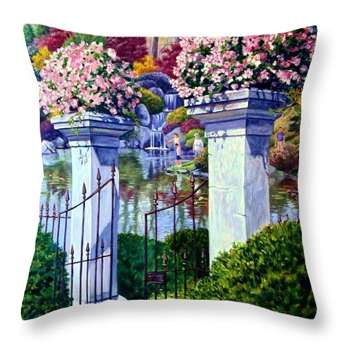Garden Gates Throw Pillow featuring the painting Peace In The Garden by John Lautermilch