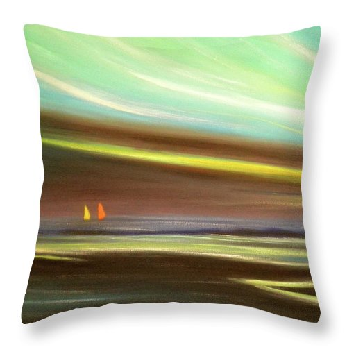 Brown Throw Pillow featuring the painting Peace Is Colorful by Gina De Gorna
