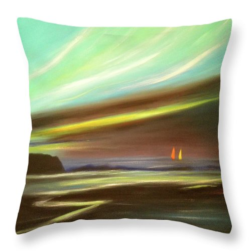 Brown Throw Pillow featuring the painting Peace Is Colorful - Square Painting by Gina De Gorna