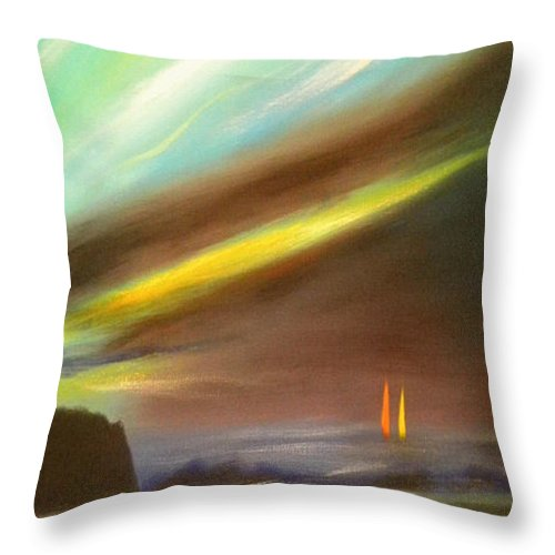 Sunset Throw Pillow featuring the painting Peace Is Colorful - Vertical Painting by Gina De Gorna