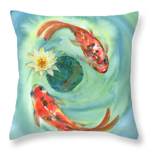 Red Koi Throw Pillow featuring the painting Peace Koi by Suemae Willhite