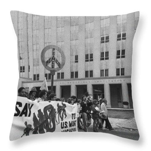 Peace Throw Pillow featuring the photograph Peace March 1986 by Omar Shafey