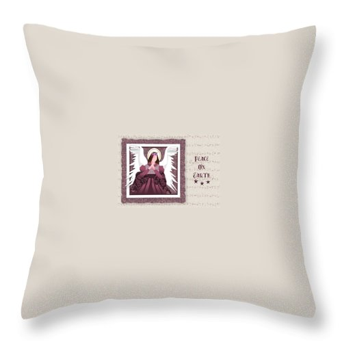 Angel Throw Pillow featuring the digital art Peace On Earth by Arline Wagner