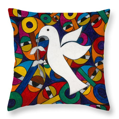 Dove Throw Pillow featuring the painting Peace On Earth by Emeka Okoro