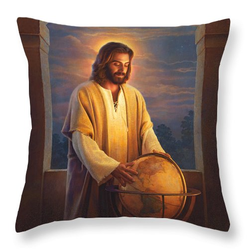 Jesus Throw Pillow featuring the painting Peace On Earth by Greg Olsen