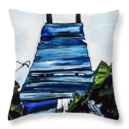 Water Throw Pillow featuring the painting Peace Pier by Paula Baker
