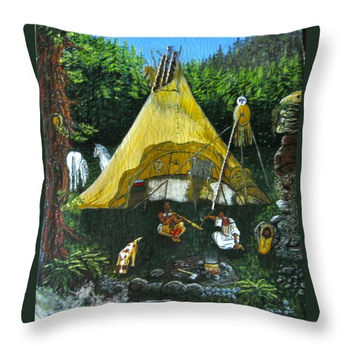 American Indians Throw Pillow featuring the painting Peace Smoke At Sundown by V Boge
