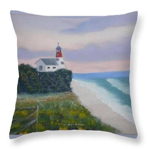 Seascape Throw Pillow featuring the painting Peace Sold by R B