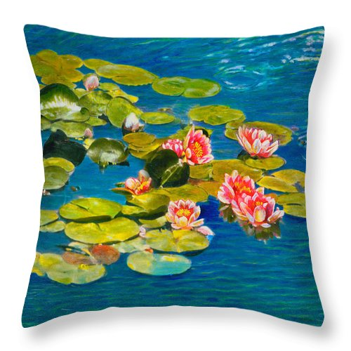 Water Lilies Throw Pillow featuring the painting Peaceful Belonging by Michael Durst