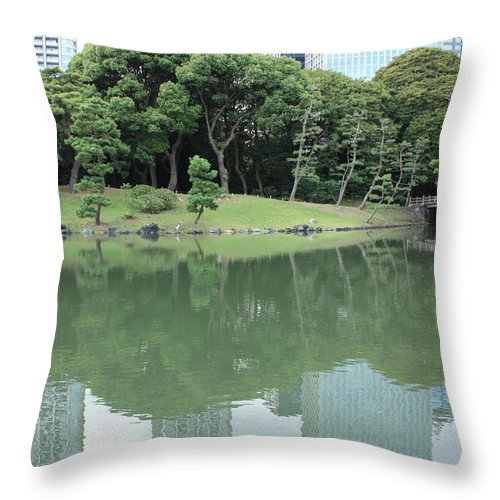 Peaceful Throw Pillow featuring the photograph Peaceful Bridge In Tokyo Park by Carol Groenen
