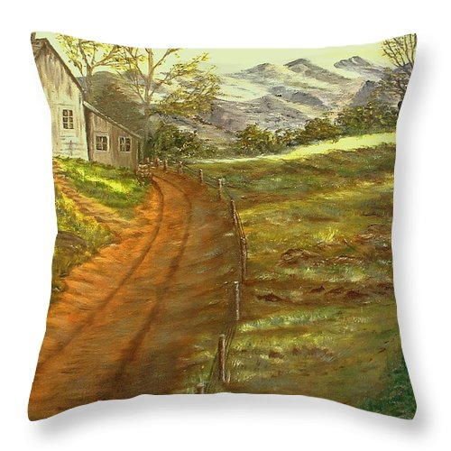 Landscape Throw Pillow featuring the painting Peaceful Country by Kenneth LePoidevin