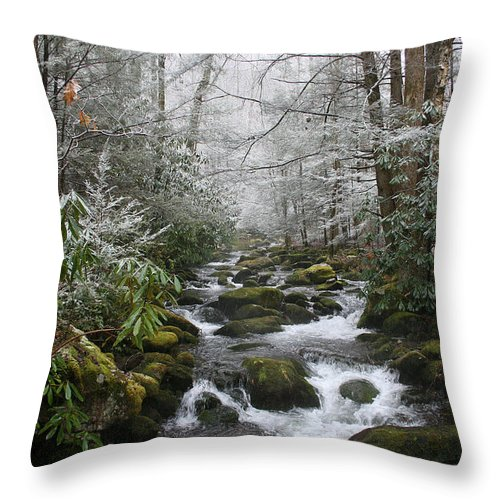 Forest Wood Woods Nature Green White Snow Winter Season Creek River Stream Flow Rock Tree Rush Throw Pillow featuring the photograph Peaceful Flow by Andrei Shliakhau