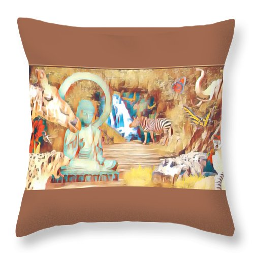 Buddha Throw Pillow featuring the photograph Peaceful Garden 2 by Dan Earle