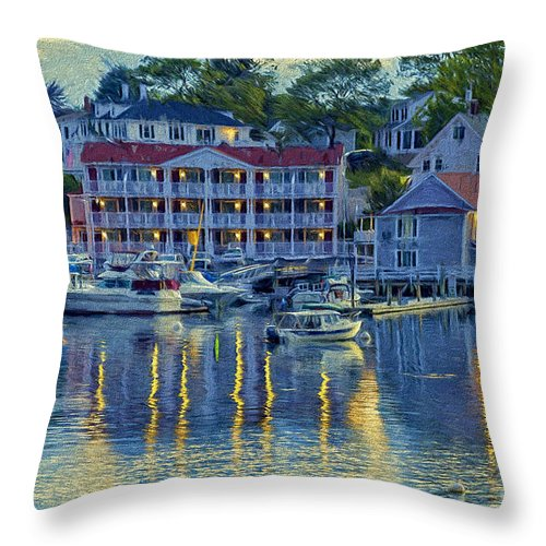 Blue Throw Pillow featuring the photograph Peaceful Harbor by Patti Schulze