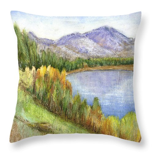 Lake Throw Pillow featuring the mixed media Peaceful Lake by Arline Wagner