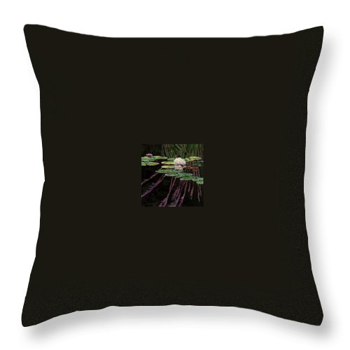 Quiet Pond With Water Lily And Reflections. Missouri Botanical Garden Throw Pillow featuring the painting Peaceful Reflections by John Lautermilch