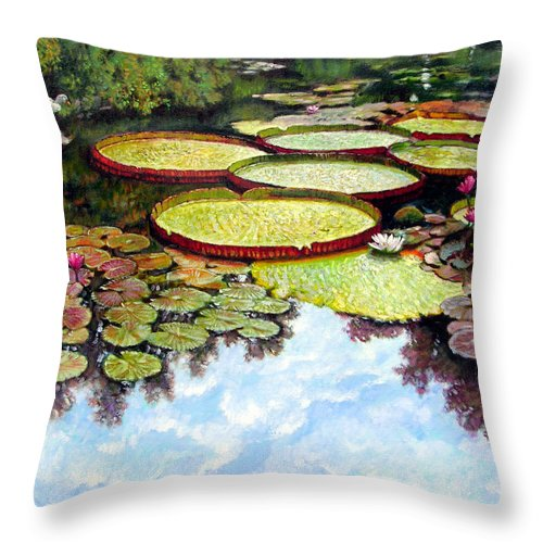 Landscape Throw Pillow featuring the painting Peaceful Refuge by John Lautermilch