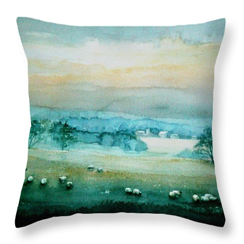Sheep Farm Throw Pillow featuring the painting Peaceful Valley by Hanne Lore Koehler