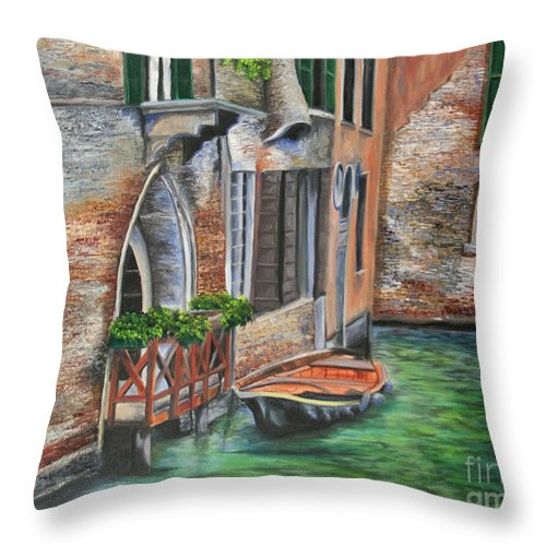 Venice Paintings Throw Pillow featuring the painting Peaceful Venice Canal by Charlotte Blanchard