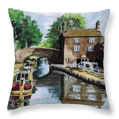 House Throw Pillow featuring the painting Peacfull House On The Lake by Alban Dizdari