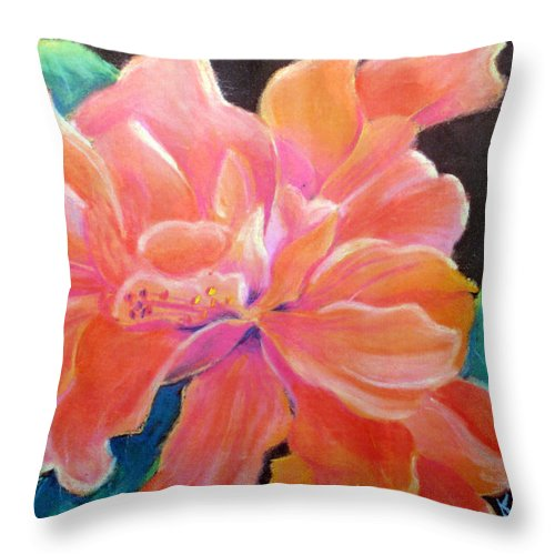 Flower Throw Pillow featuring the pastel Peach Double Hibiscus by Susan Kubes