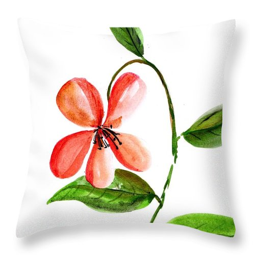 Abstract Flower Throw Pillow featuring the painting Peach Flower by Sweeping Girl