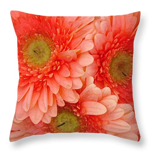 Floral Throw Pillow featuring the painting Peach Gerbers by Amy Vangsgard